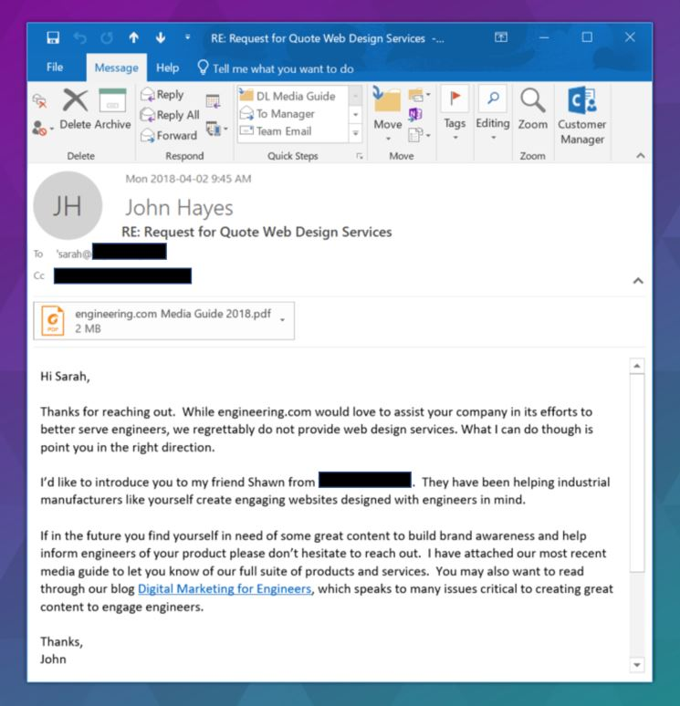 An email for a prospect that isn't a fit